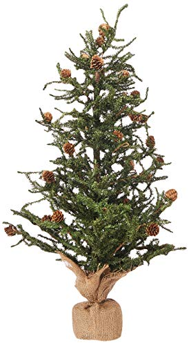 - Vickerman Carmel Colored Pine Tree with Pine Cones and 684 Tips with Burlap Base, 30-Inch Xmas Tree