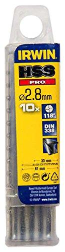 IRWIN 10502259 2.8 mm HSS PRO DIN338 Drill Bit Bulk (Pack of 10) Irwin Tools