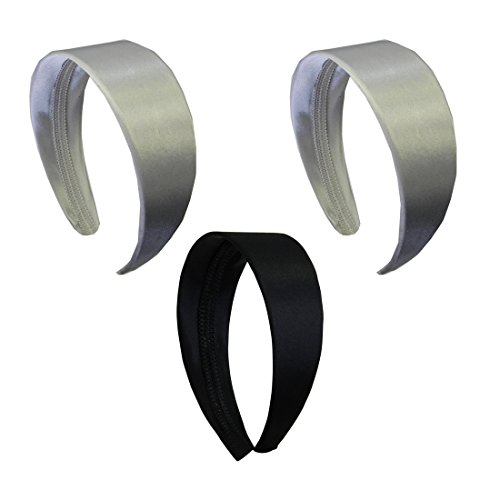 2 Inch Wide Satin Hard Headband with No Teeth Head band for Women and Girls (Motique Accessories) - Set of 3