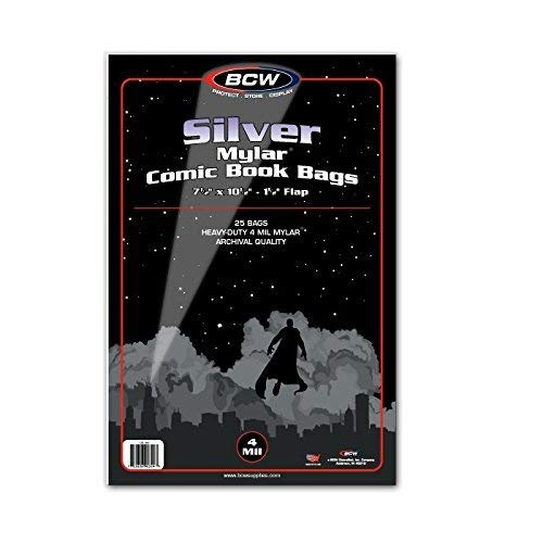 Bags Comic Mylar - (25) Silver Age Age Archival Mylar 4 Mil Polyester Comic Book Bags By BCW