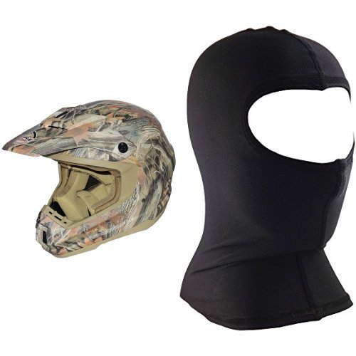 Core Forester MX-1 Off-Road Helmet (Tan Camouflage, X-Small) and Core Nylon Balaclava (Black, One Size) Bundle