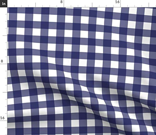 Spoonflower Blue Plaid Fabric - Plaid Baby Nursery Modern Kitchen Home Decor Upholstery Plaid Check Navy Blue Nursery by Ragan Printed on Petal Signature Cotton Fabric by The Yard ()