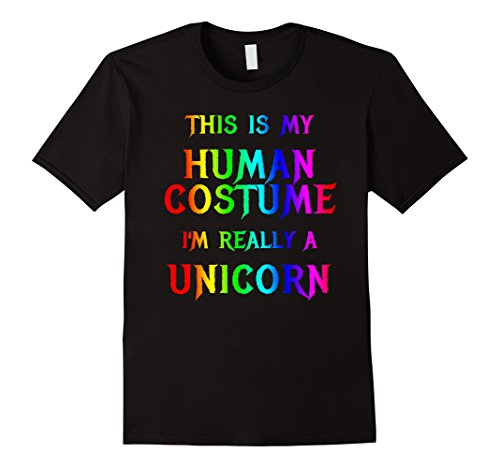 Mens Cute Rainbow Unicorn Halloween Costume Shirt for Girls Women Large Black