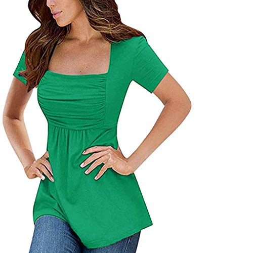 - Aniywn Women's Slim Top Shirt Short Sleeve Solid Color Sexy Pleated Top Ruched T Shirt Tunic Blouse Green