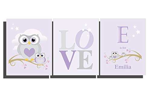 Baby Girl Purple Lavender Custom Nursery Decor Owl Wall Art Personalize Little Girl's Room Name Letter Owl Pictures Baby Shower Gift Mauves Gray 8 x 10 inch (Set of 3 Unframed Prints)