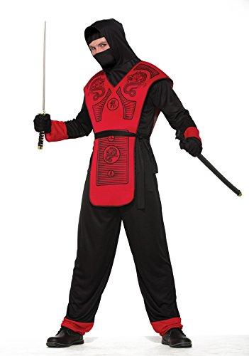 Black And Red Ninja - Forum Men's Fire Dragon Hooded Ninja