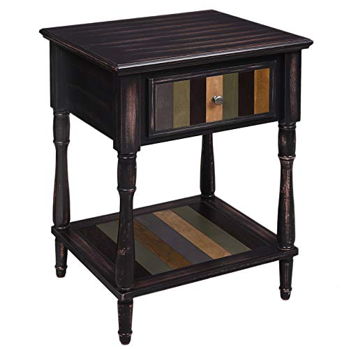 VASAGLE End Table with 1 Colorful Drawer, Side Table with Turned Wood Legs, 1 Storage Shelf, Assembly Without Tools, Accent Table for Living Room, Country Brown ULET17GL