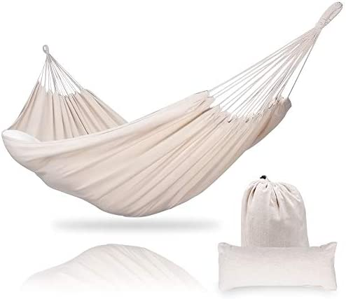 Zupapa XL Brazilian Double Cotton Hammock 2 Person Swing Bed for Backyard Lounging Outdoor Indoor Travel Camping – 550lbs Capacity, Lightweight and Portable