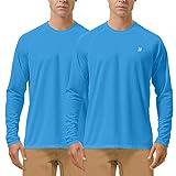 Roadbox Men's 2 Pack UV Sun Protection UPF 50+ Long Sleeve Quick Dry Fishing Shirts Outdoor Rash Guard T-Shirt for Running, Hiking, Swimming