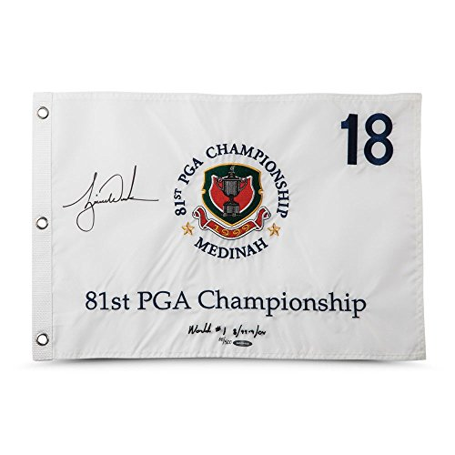 TIGER WOODS Autographed & Embroidered 1999 PGA Championship Pin Flag UDA LE ()