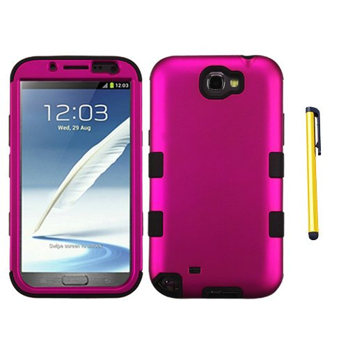 Hybrid Snap on Cover Fits Samsung T889 I605 N7100 Galaxy Note II Titanium Solid Hot Pink/Black TUFF Hybrid + A Gold Color Stylus/Pen ()