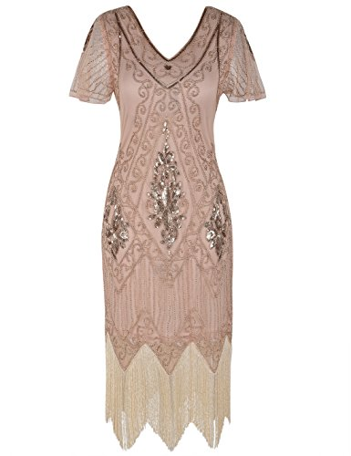 PrettyGuide Women's 1920s Flapper Dress Fringed Great Gatsby Dress M Rose Gold