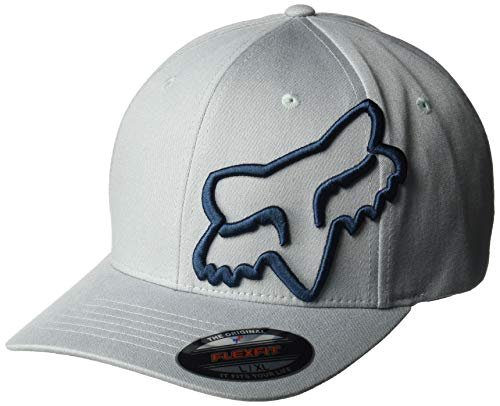 Cap Baseball Hat Racing (Fox Men's Clouded Flexfit HAT, Heather Grey, L/XL)