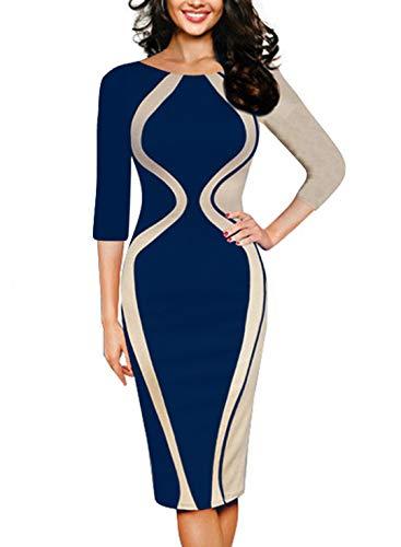 REMASIKO Womens Colorblock Optical Illusion Short Sleeve Cocktail Work Pencil Dress Blue + Apricot 2 Large