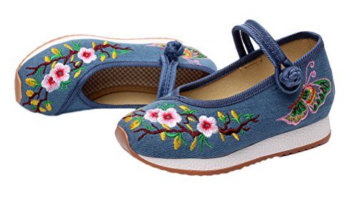 Soojun Girls Unique Embroidery Mary Jane Canvas Sneaker, 2 Little Kid, Blue