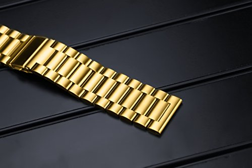 24mm Deluxe Interchangeable Watch Belt Gold Stainless Steel Belt Watch Strap Solid Link Straight End by autulet (Image #3)