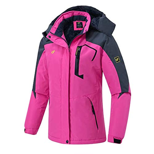 Pdbokew Women's Skiing Snowboarding Jackets Fleece Hood Mountain Snow Coat