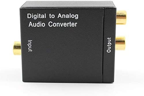 Audio Converter Adapter Optical Toslink /& Coaxial R//L Digital Optical Coax to Analog RCA Audio Converter with Fiber Cable Black