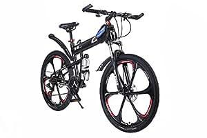 OPATER MTB Mountain Bike 26″ 24 Speed Sturdy Carbon Steel Frame Bike For Men and Women (Black)