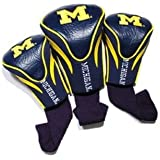 Team Golf NCAA Michigan Wolverines Contour Golf Club Headcovers (3 Count), Numbered 1, 3, & X, Fits Oversized Drivers, Utility, Rescue & Fairway Clubs, Velour lined for Extra Club Protection