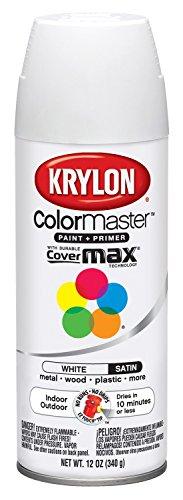 (Krylon K05356407 ColorMaster Paint + Primer, Satin, White, 12 oz.)