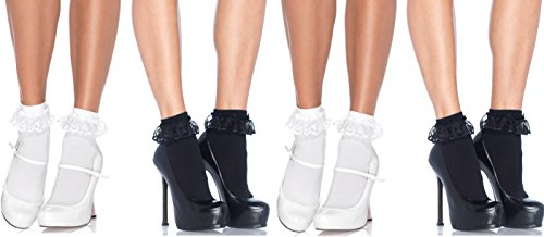 Leg Avenue Women's Lace Ruffle Anklet Socks, One Size, 4-Pair, Black and White -