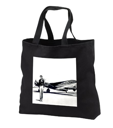 florene-transportation-old-photo-of-amelia-earhart-with-lockheed-electra-model-10-tote-bags-black-to