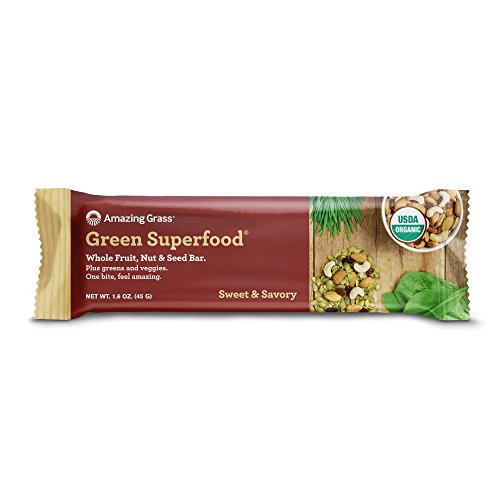 Amazing Grass Green Superfood Whole Fruit, Nut & Seed Bar - Sweet & Savory 12-1.6 OZ. (45 G) BARS (Nut Super)