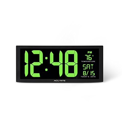 AcuRite 75155M Large LED Digital Clock, 14.5-Inch, Green by AcuRite