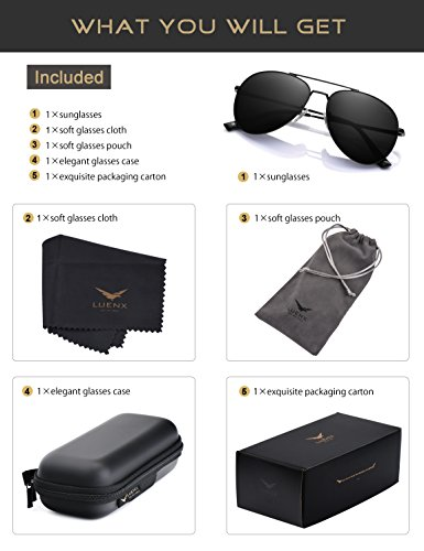 Protection noir LUENX 400 Lunettes Soleil UV de Homme 60mm 9 zrROA4z