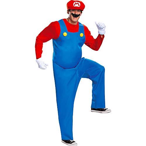 Disguise Men's Mario Deluxe Adult Costume, Red,