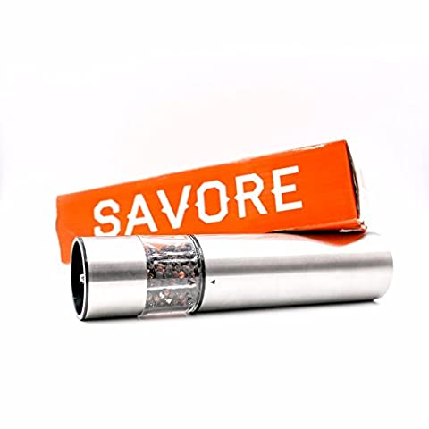 Savore Automatic Electric Salt or Pepper Grinder Mill,Quality Stainless Steel, Battery Powered with LED Light At Bottom Upgrade From Your Regular OXO - Stainless Steel Electric Pepper Mill