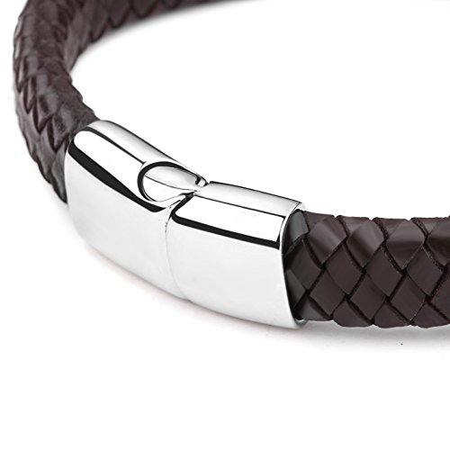 Jstyle Braided Leather Bracelets for Men Bangle Bracelets Fashion Magnetic Clasp 7.5 Inch Brown