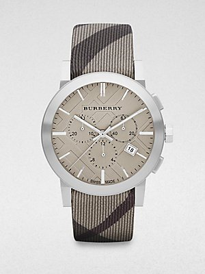 Burberry Watch, Men's Swiss Chronograph Smoke Check Fabric Strap 42mm BU9358