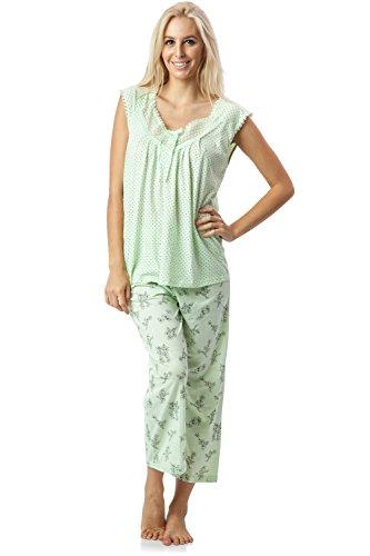 Casual Nights Women's Lace Sleeveless Top and Capri Bottom Sleepwear Pajama Set - Green - XX-Large (Sleeveless Capri Pajamas)