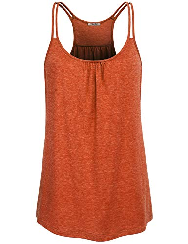 Hibelle Activewear for Women, Racerback Ribbed Flowing Tank Tops Loose Fit Sleeveless Ruched Scoop Neck Fitness Workout Clothes Plus Size Jersey Knit Textured Summer Dress Orange L ()