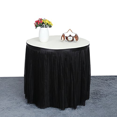 Zehui Pleated Style Tablecloth Polyester Wedding Hotel Table Decoration Birthday Baby Party Table Skirt ,Black 2.75mx80cm (Pleated Sash)