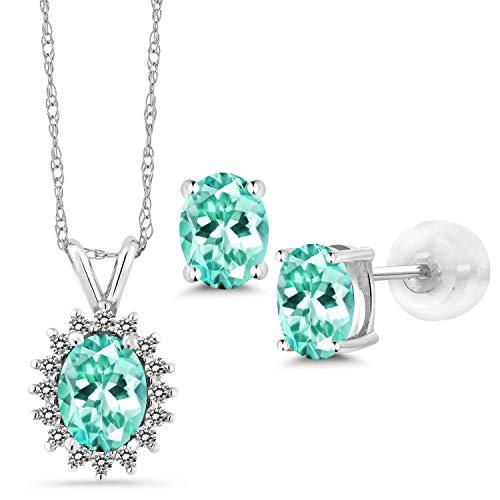 Gem Stone King 2.49 Ct Oval Blue Apatite 14K White Gold Pendant Earrings Set