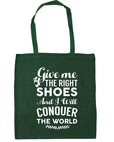 HippoWarehouse me da el derecho zapatos y voy a conquistar el mundo Ballet bolsa de la compra bolsa de playa 42cm x38cm, 10litros verde oscuro