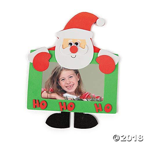 Foam Santa Photo Frame Magnet Craft Kit - Photo Crafts for Kids-Makes 12