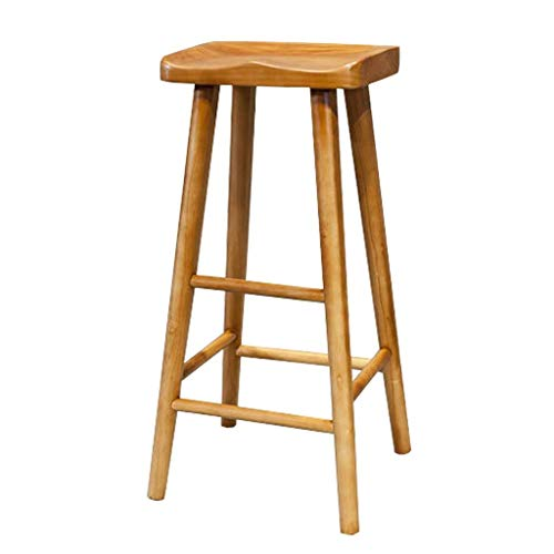 SZPZC Wooden Barstool Furniture Contoured Saddle Seat 21/25/29-Inch Footrest Bar Stool Chair for Kitchen Island or Counter | Pub | Café, Natural Max. Load 200 kg Bar Chairs (Size : 55cm)