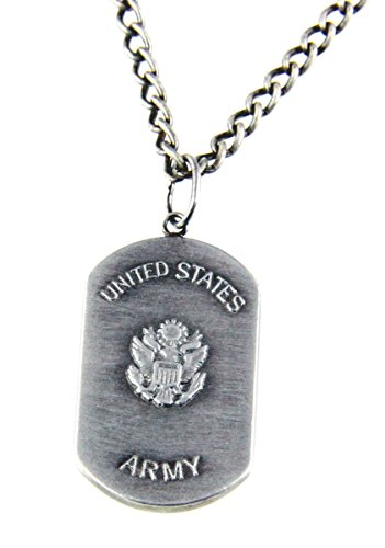 6030151 US United States Army Necklace Medallion Armed Services Army of One 1 Dog Tag (Service Dog Jewelry)
