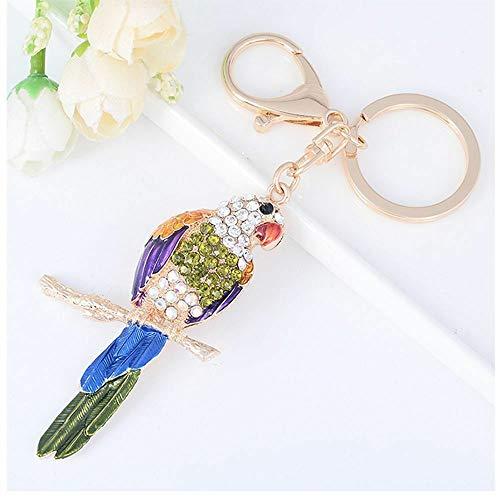- Creative Enamel Rhinestone Key Ring Fashion Jewelry Key Chain Parrot Bird (Color - Blue)