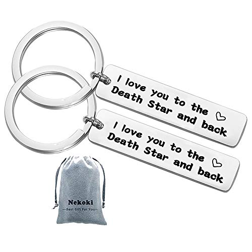 Couple Keychain I Love You to The Death Star and Back Movie Keyring Wedding Gift for Couple Boyfriend Girlfriend]()