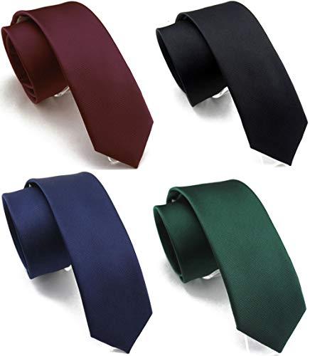 (Wehug 4 Pack Men's Classic Solid Color Tie Slim Tie Skinny Ties For Men 2.4'' (6cm) Mix001 )