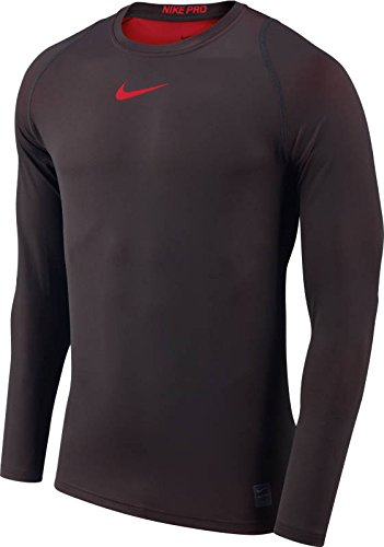 (Nike Men's Pro Colorbust Long Sleeve Fitted Shirt (University Red/Htr, XXL))