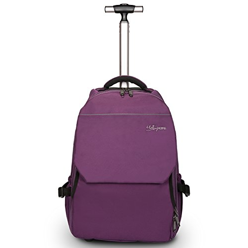 - 19 inches Large Storage Multifunction Waterproof Travel Wheeled Rolling Backpack by HollyHOME, Purple