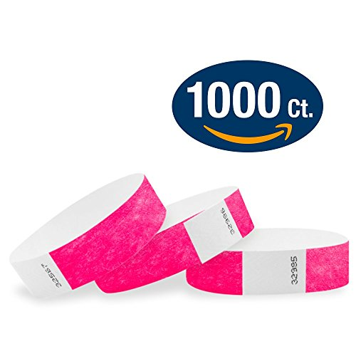 """WristCo Neon Pink 3/4"""" Tyvek Wristbands - 1000 Pack Paper Wristbands For Events"""