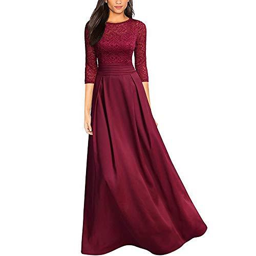 Retro Con Auming Vestido Noche Las Novia Dama Honor Encaje Xl Cuello Vestidos Largo Mujeres Largos Floral Wine Black color Pliegues De Vintage Red Size IrIFdzx