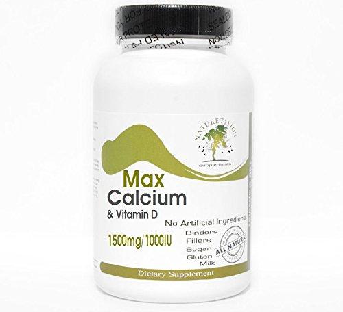 Max Calcium 1500mg & Vitamin D 1000IU ~ 200 Capsules - No Additives ~ Naturetition Supplements
